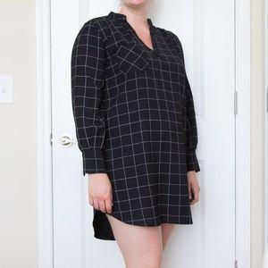 NWOT Black Windowpane Tunic Dress